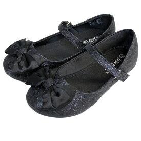 【P2倍・4月9日20時〜+クーポン有】フォーマル 靴 女の子 ブラック リボン ラメ 18.5-23.5cm Jelly Beans LOLA