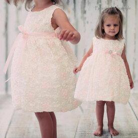 【楽天スーパーSALE半額商品】ベビードレス フォーマル 女の子 60-90cm アイボリー ピンク キャメロン