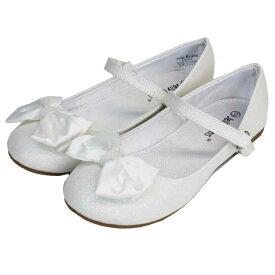 フォーマル 靴 女の子 ホワイト リボン 18.5-23.5cm Jelly Beans LOLA