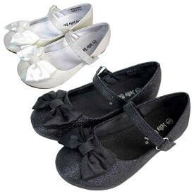 【楽天スーパーSALE割引商品】フォーマル 靴 女の子 ホワイト ブラック リボン ラメ 13-17.5cm Jelly Beans LOLAMA
