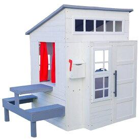【決算セール割引商品】キッドクラフト モダン アウトドア プレイハウス ホワイト 木製 大型遊具 白い大きなお家 KidKraft /配送区分C