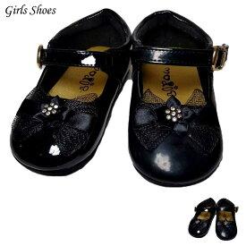 【感謝祭ポイント5倍】 フォーマル 靴 リボン モンクストラップ キッズ 女の子 ブラック 黒 9.5-15.5cm シューズ