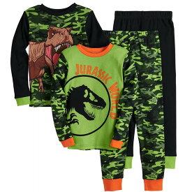 【冬物セール】ジュラシック・ワールド パジャマ 2着 4点セット 長袖 長ズボン 恐竜 子供用 キャラクター 寝巻き 90 100 110 120 130