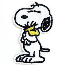 【P2倍・〜9月27日10時〜+クーポン有】送料無料/ ワッペン スヌーピー 抱きウッドストック 刺繍 アイロン 全身 キャラクター パッチ アップリケ SNOOPY