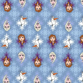 【冬物セール】DM便送料無料/ 10cm単位 続けてカット ディズニー アナと雪の女王2 生地 ブルー 総柄 コットンフリース フランネル 起毛 プリント キャラクター 布 手作り 手芸 輸入