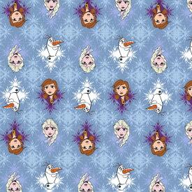 DM便送料無料/ 10cm単位 続けてカット ディズニー アナと雪の女王2 生地 ブルー 総柄 コットンフリース フランネル 起毛 プリント キャラクター 布 手作り 手芸 輸入