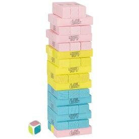 【P5倍・10/01限定+クーポン有】ジェンガ L.O.L. サプライズ! 積み木 木製 ジェンガゲーム バランスゲーム 立体パズル 積み木 ブロック ドミノブロック テーブルゲーム おもちゃ 48PCS サイコロ付き