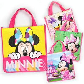 DM便対応/ 不織布バッグ ハンドバッグ M ミニーマウス ディズニー キャラクター 手提げ袋 作品収納バッグ マチ付き エコバッグ トートバッグ