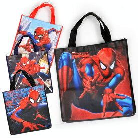 DM便対応/ 不織布バッグ ハンドバッグ M スパイダーマン ディズニー キャラクター 手提げ袋 作品収納バッグ マチ付き エコバッグ トートバッグ