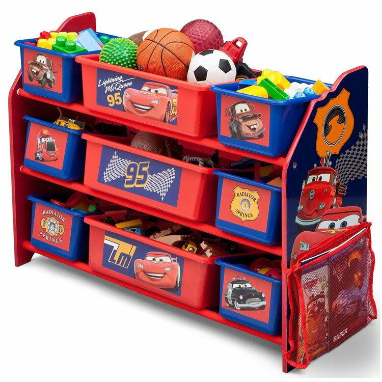 Online ONLY(海外取寄)/ デルタ ディズニー ピクサー カーズ デラックス 9ビン おもちゃ箱 男の子 3-6歳