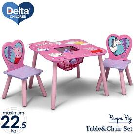 デルタ ディズニージュニア ペッパピッグ テーブル&チェア 収納付き 子供家具 学習机 椅子 3点セット Delta