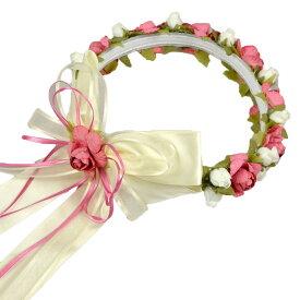 【P2倍・4月9日20時〜+クーポン有】フラワーティアラ 女の子 アイボリー ピンク フォーマル ヘアアクセサリー