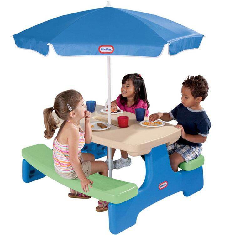 アウトドア 折りたたみテーブル リトルタイクス ピクニックテーブル アンブレラ付き ブルーグリーン /配送区分:超大型