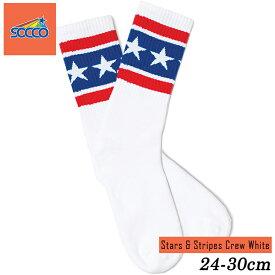 SOCCO ソックス 24cm-30cm スター ストライプ 白 黒 ソッコ クルー 靴下 メンズ レディース