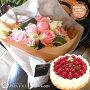 【花とスイーツ】お誕生日の花束MサイズNo.M03と洋菓子店カサミンゴーの最高級ケーキとのセット【選べるケーキ誕生日プレゼント女性誕生日花ギフト生花スイーツセットパリスタイルブーケタイプ】