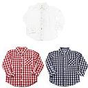 キッズ ボタンダウンシャツ レッド 無地の3色 キッズ シャツ カットソー 長袖 ボタンダウン チェック カラフル かっ…
