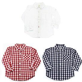 a458d6f1a6431 キッズ ボタンダウンシャツ レッド 無地の3色 キッズ シャツ カットソー 長袖 ボタンダウン チェック