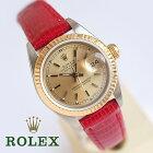 1年保証 OH済 ロレックス REF69173 デイトジャスト ゴールドベゼル K18/SS 1985年製 レディース 腕時計 新品リザード革ベルト 自動巻 ビンテージ 【中古】