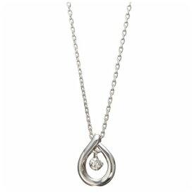 4℃ ヨンドシー0.035ctダイヤモンド スターリングシルバーPTコーティングドロップネックレス
