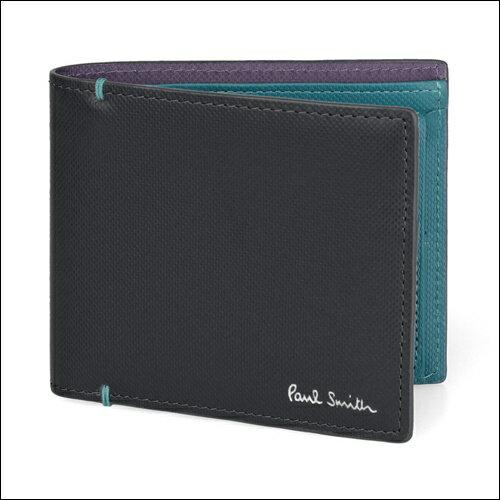 ポールスミス 財布 Paul Smith バッグ ポール・スミス 新品 ポール スミス 正規品 コントラストカラー 2つ折り財布 ブラック