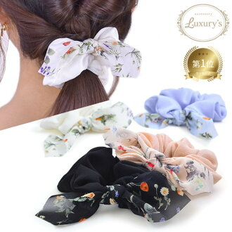 Chou chou ribbon りぼん hair accessories chiffon floral design ribbon ivory pink blue-black daily wedding ceremony invite casual accessory gift adult Lady's woman entrance ceremony graduation ceremony graduation ceremony entering a kindergarten-type present