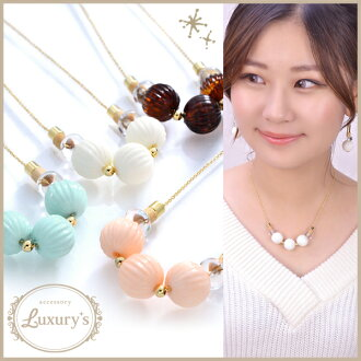 Necklace pastel clear beads Luxury's white pink mint brown Lady's overswinging size grain adult simple pretty pretty wedding ceremony handicraft white gold wedding invite party go Japanese Agricultural Standards four circle woman