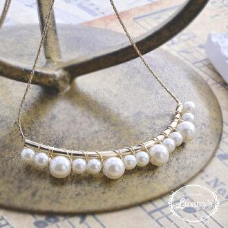 Necklace pearl curve line Luxury's gold refined invite Shin pull