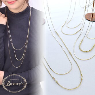 The stick pearl beads Luxury's gold Shin pull that two long necklace delicateness made of necklace brass three are thin