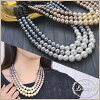 Necklace pearl three gradation Luxury's adult party invite wedding ceremony