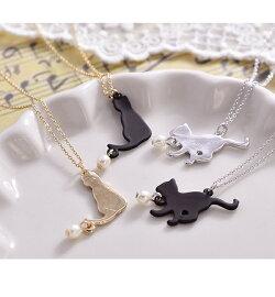 【メール便送料無料】ネックレスねこネコ猫シルエットプレートパールメタル可愛い