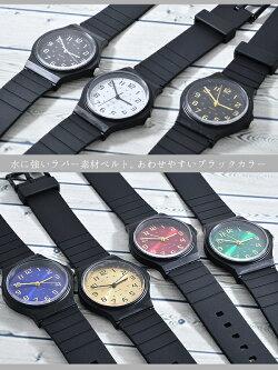 【メール便送料無料】腕時計レディースラバーカラーブラック黒黒いシンプルスポーティークールグリーンブルー