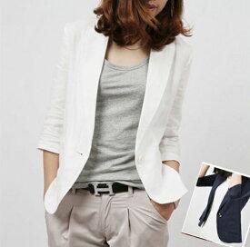 麻 サマージャケット ジャケット 7分丈 リネンショート丈 ネイビー ホワイト テーラードジャケット 大きいサイズ有り S〜XXXL(3L)P20Aug16