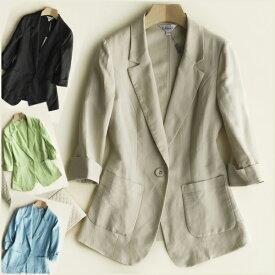 春夏 麻 サマージャケット テーラードジャケット 7分袖 シングル ブラック ホワイト ベージュ  S〜XXL(2L)