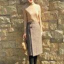 グレンチェック 巻きスカート ラップスカート 膝下丈 ブラウン 格子 チェック 送料無料
