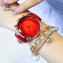 GUOU 腕時計 時計 レディース 女性用 ウォッチ セレブ 人気 クリスタル ガラスカット アクセサリー ラッピング無料 送…