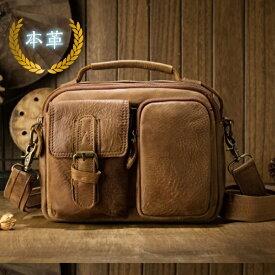 本革 牛革 レザー leather ショルダーバッグ 斜め掛け ワンショルダーバッグ コンパクトサイズ ビンテージ風 キャメル カーキ ブラウン ブラック 柔らかい革 ワイルド ナチュラルな風格JDZR 6840