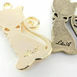 ★1個★リボンの猫ちゃんミール皿★カン付き★Diana★ハンドメイド用★K16GPゴールド&本ロジウムカラー★1個★