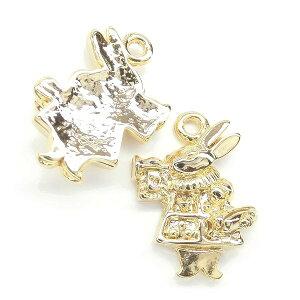 【2個】人気のかわいいアリスシリーズ♪ petit rabbit ラッパを吹くうさぎの金属チャーム アニマル L&Aの高品質上質特殊鍍金で変色耐久度up!長く輝くK16GP&金古美 ネックレスピアスイヤリング