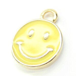 【2個】Smiley 約11mm イエローカラーチャーム 人気の黄色スマイルニコちゃんパーツ 見るだけでにこちゃん笑顔になれるhappyモチーフ L&Aの高品質上質鍍金で変色耐久度up!K16GP ネックレスピア
