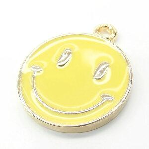 【2個】Smiley 約16mm イエローカラーチャーム 人気の黄色スマイルニコちゃんパーツ 見るだけでにこちゃん笑顔になれるhappyモチーフ L&Aの高品質上質鍍金で変色耐久度up!K16GP ネックレスピア