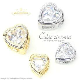 【2個】キュービックジルコニアチャームCubic zirconia Heart 4mm&5mmかわいいハート型 crystal 高品質上質鍍金で変色耐久度up!K16GP&本ロジウム 台座付きビーズパーツブリリアントカットジルコン 通すだけ簡単ハンドメイドでピアス&プチペンダントネックレス【2個価格】