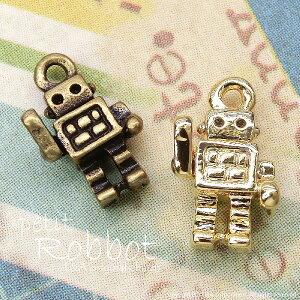【2個】petit robot 小さいロボットのプチパーツ カン付き 金属チャーム L&Aの高品質上質特殊鍍金で変色耐久度up!長く輝くK16GP&金古美 ネックレスピアスイヤリングプチペンダントなどオシャ