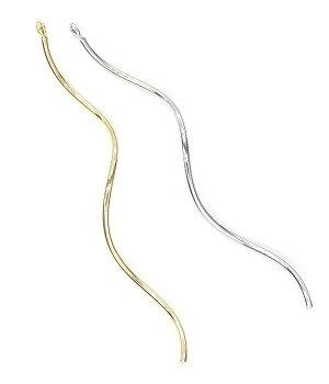 【1個】美しく煌めくスティックチャームロングウェーブ55mm&ツイストウェーブ50mmデザインパーツ金属チャームL&Aの高品質上質特殊鍍金で変色耐久度up!長く輝くK16GP&本ロジウムネックレスピアスイヤリングプチペンダントなどオシャレにハンドメイド【1個】