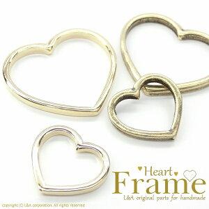 """【2個】ハートフレームパーツ""""Heart Frame""""フレームパーツ&レジンに使用OK◎ L&Aの高品質上質鍍金で変色耐久度up!K16GP&金古美 ネックレスピアスイヤリングプチペンダントなどアクセント"""