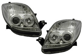 SONAR(ソナー) ヘッドライト トヨタ ヴィッツ エンジェルアイ プロジェクター ヘッドライト クローム インナー SCP/KSP90系 ヴィッツ前期