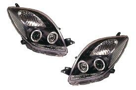 SONAR(ソナー) ヘッドライト トヨタ ヴィッツ エンジェルアイ プロジェクター ヘッドライト ブラック インナー SCP/KSP90系 ヴィッツ前期
