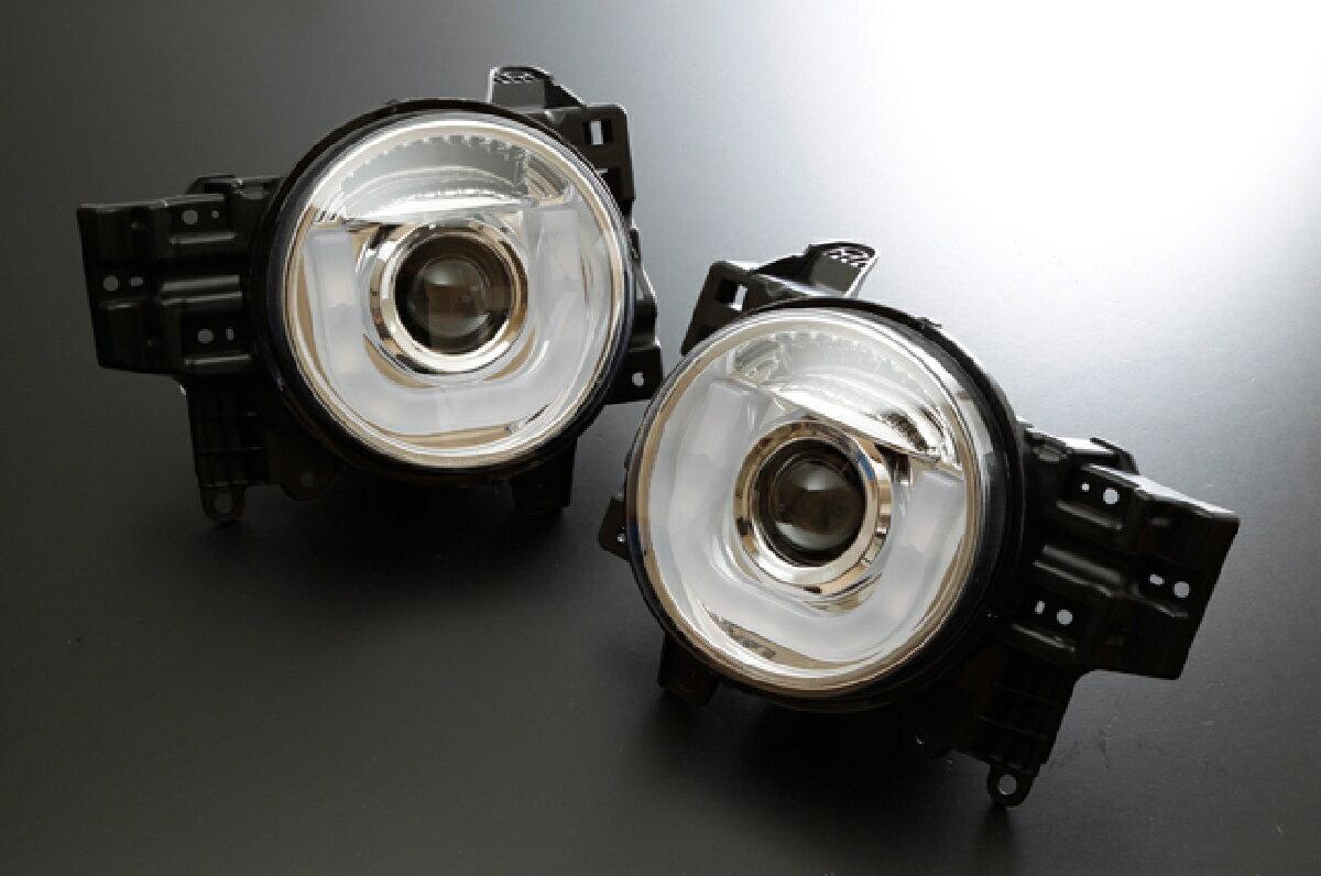 SONAR(ソナー) ヘッドライト トヨタ FJクルーザー LED ホワイトライトバーDRLスタイル プロジェクター ヘッドライト クロームインナー FJクルーザー GSJ15W 日本仕様車