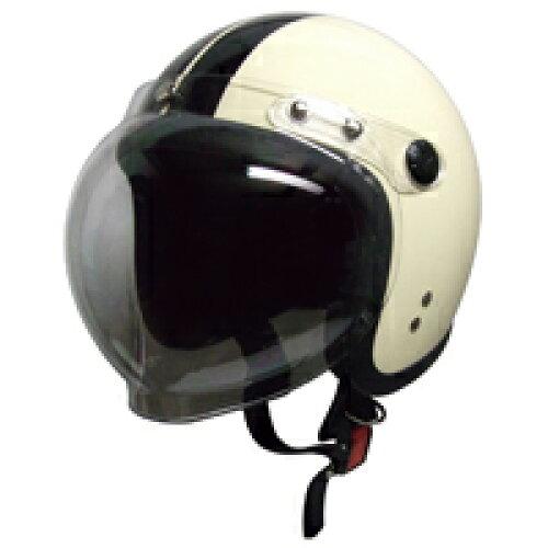 バイクヘルメットスモールジェット回転BBシールド付アイボリー/ブラックフリー(58〜60cm未満)