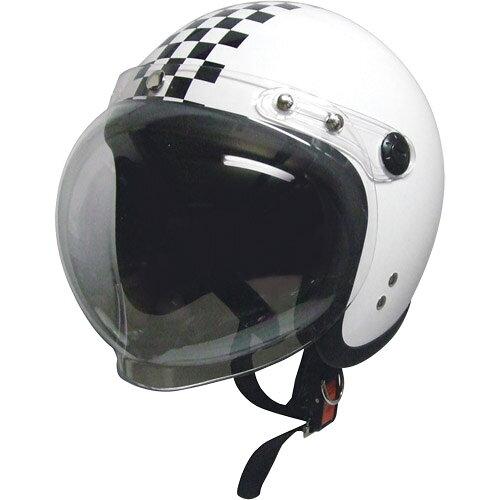 バイクヘルメットスモールジェット回転クリアシールド付ホワイト/チェックフリー(58〜60cm未満)