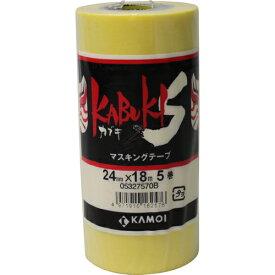 885712 カブキS マスキングテープ 幅12mm×18m カモ井加工紙 イエロー 1パック(10巻入)